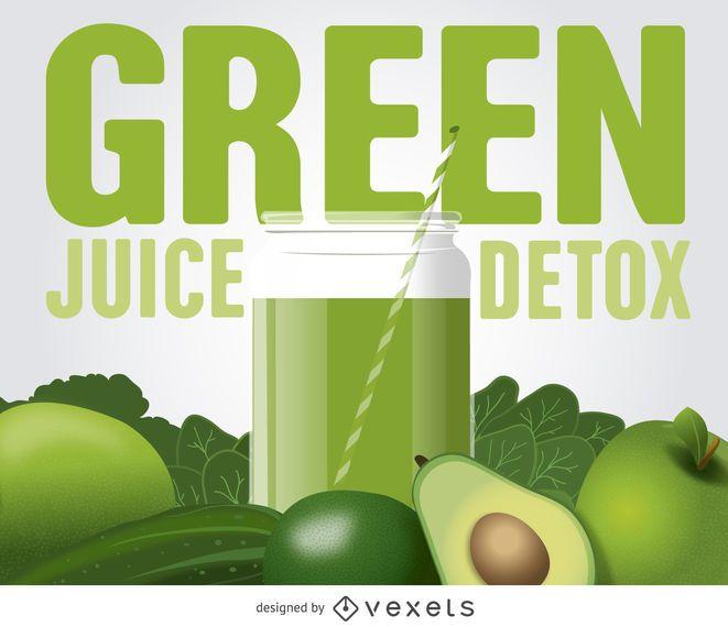 Cartaz de suco de desintoxicação verde