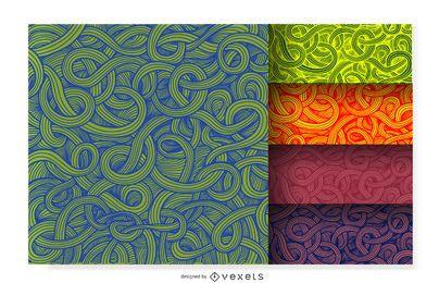 Conjunto padrão ornamental encaracolado