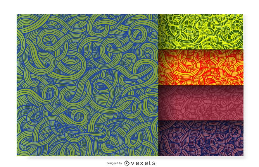 Curly ornamental pattern set