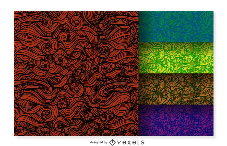 Conjunto de fondo ornamental rizado colorido