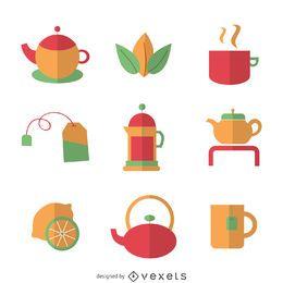conjunto de elementos de té plana