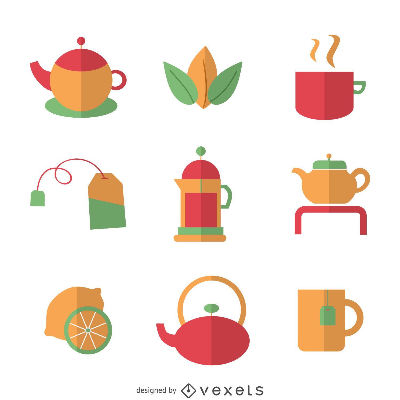 Conjunto de elemento de chá plano