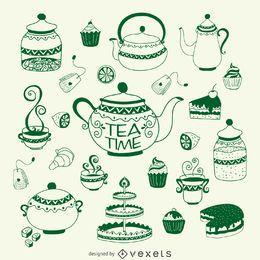 Conjunto de ilustração do tempo do chá