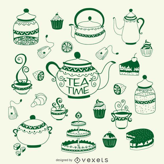 Tea time illustration set