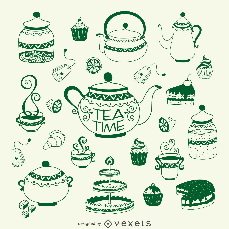 Conjunto de ilustración de la hora del té