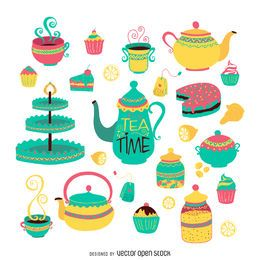 juego de té dibujado a mano plana