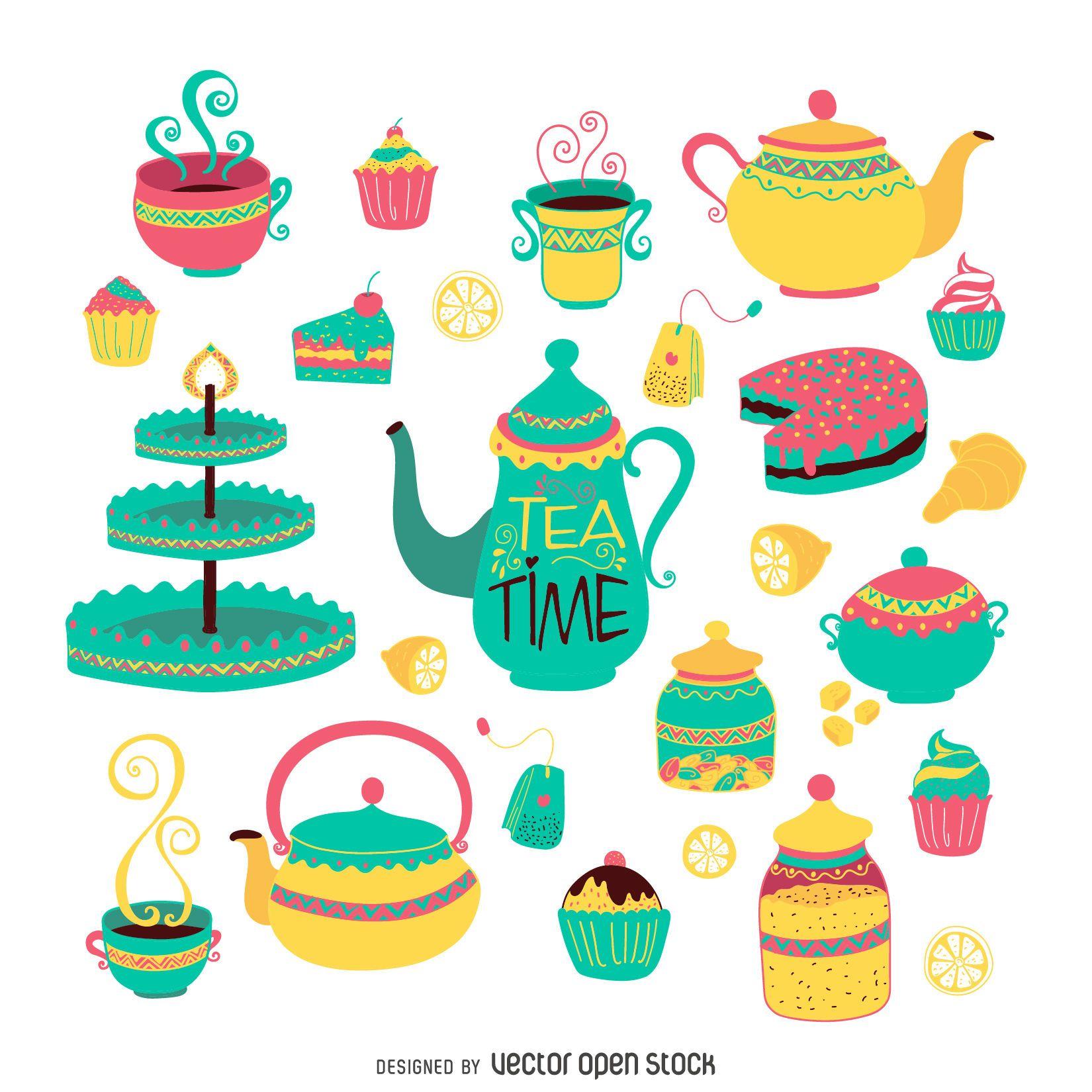 Juego de té plano dibujado a mano