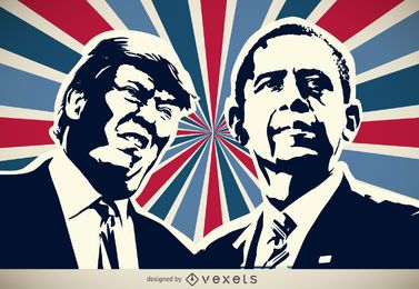 Trump and Obama silhouette