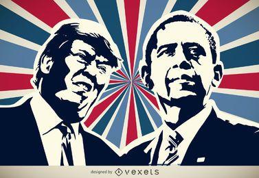 Trump e silhueta de Obama