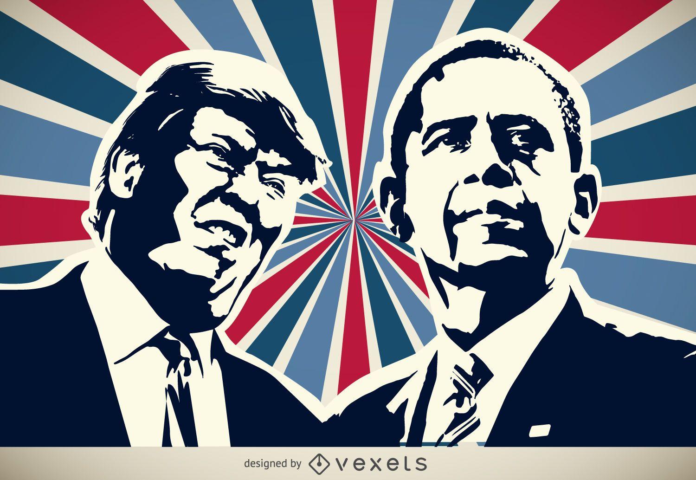Silueta de Trump y Obama