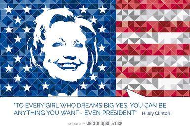 Cita de Hillary Clinton bandera de EE.UU.