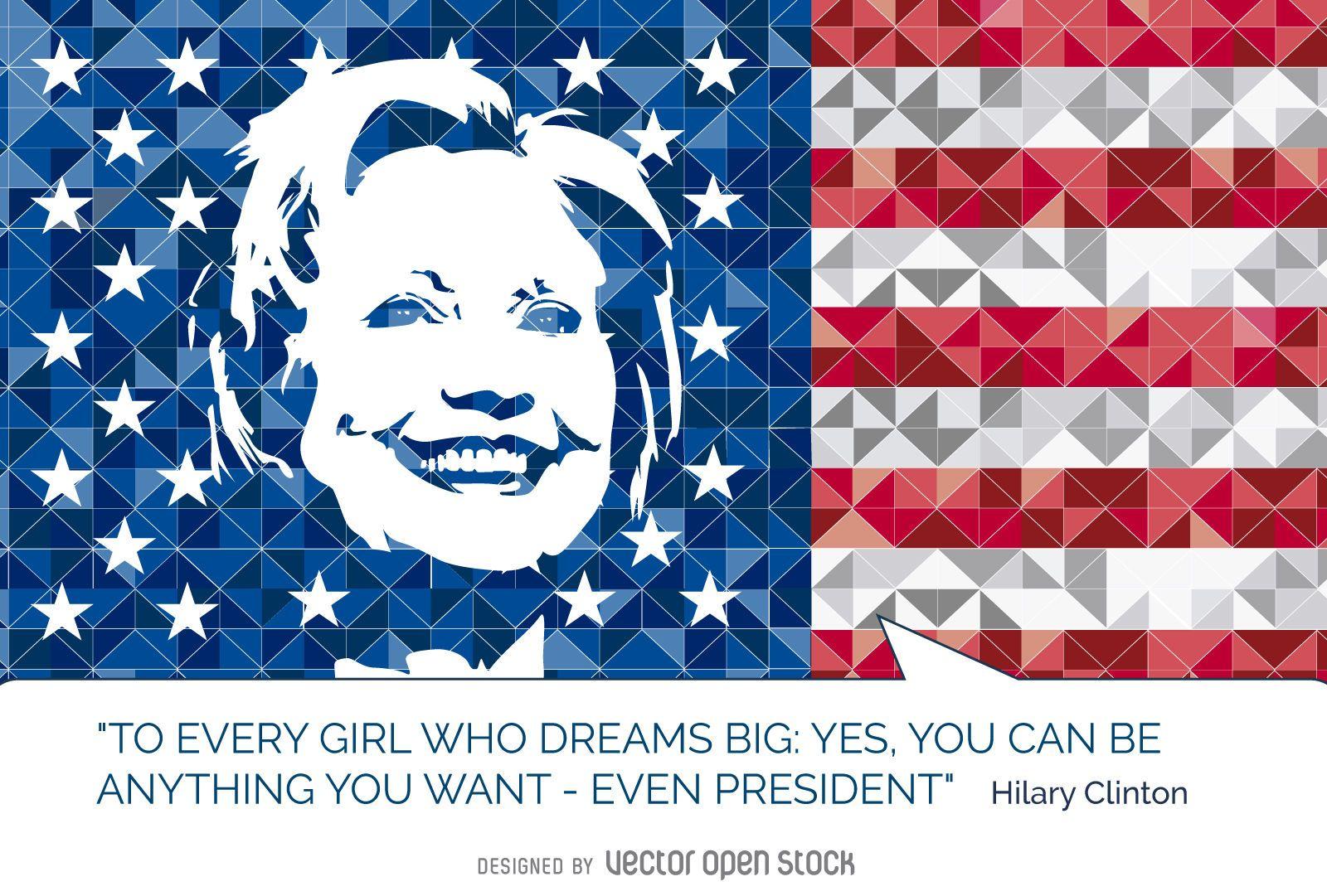 Hillary Clinton Quote Hillary Clinton Quote Us Flag  Vector Download