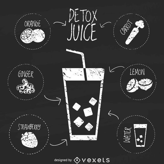 Chalkboard juice recipe illustration