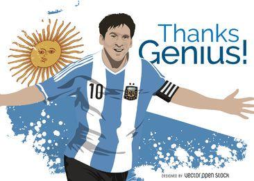 Messi en la camiseta de fútbol argentina ilustración