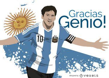 Ilustración de Leo Messi con mensaje en español.