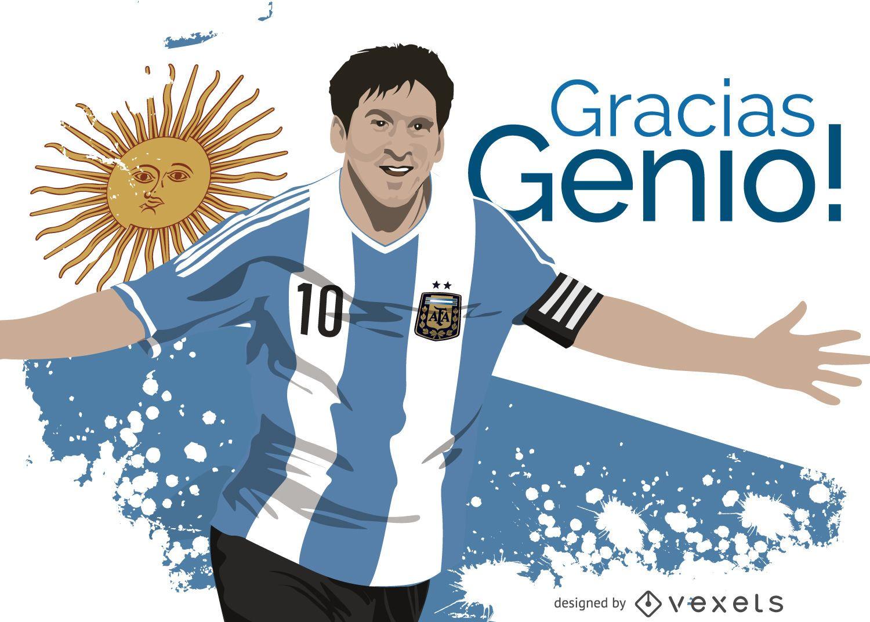 Ilustração de Leo Messi com mensagem em espanhol