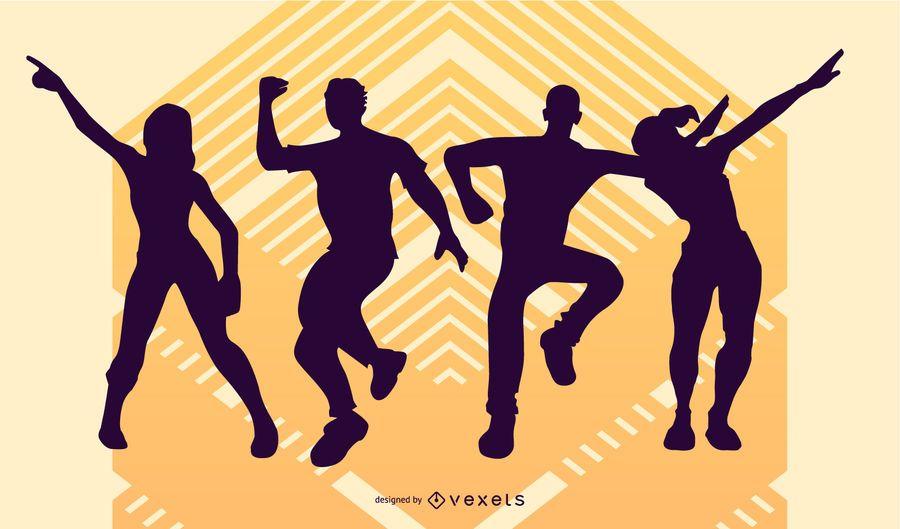 Silhuetas de pessoas dançando festa