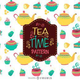 Padrão de ilustração de hora do chá