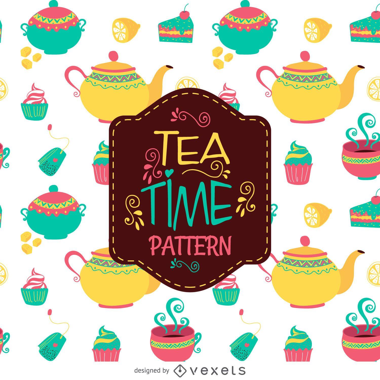 Tea time illustration pattern