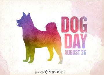 Silhueta de dia de cachorro colorido