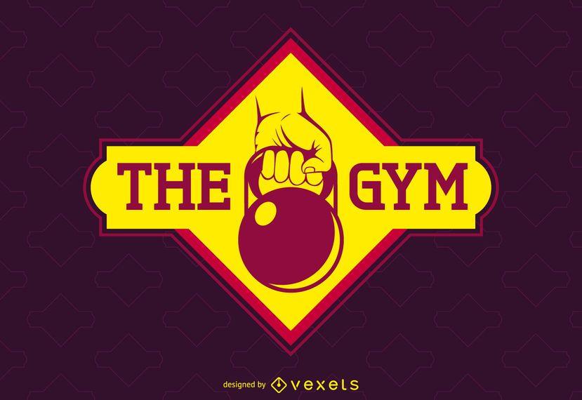 Plantilla de logotipo de etiqueta de gimnasio brillante