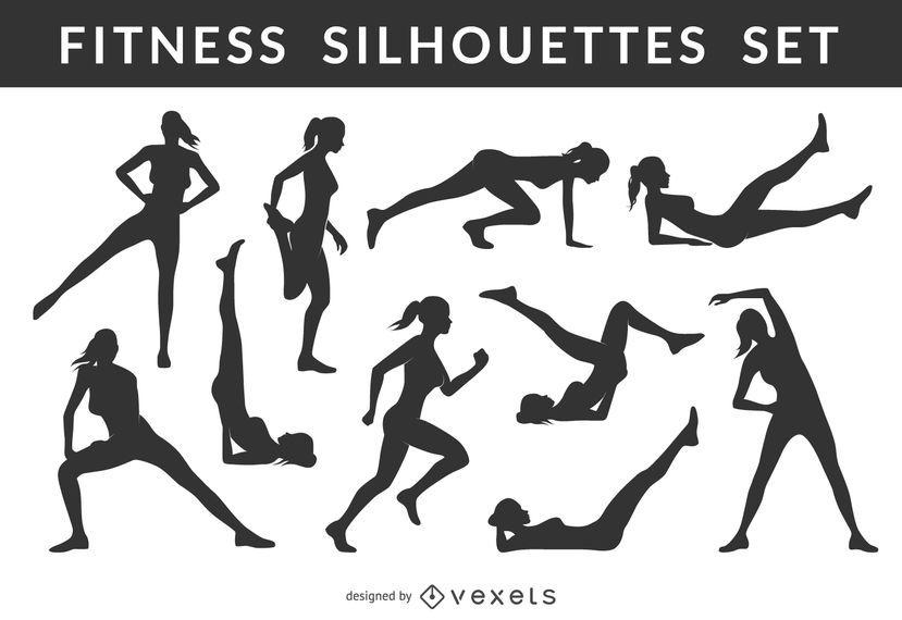 Conjunto De Silhueta Feminina Fitness Baixar Vector