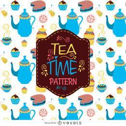 Tiempo del té del fondo del modelo