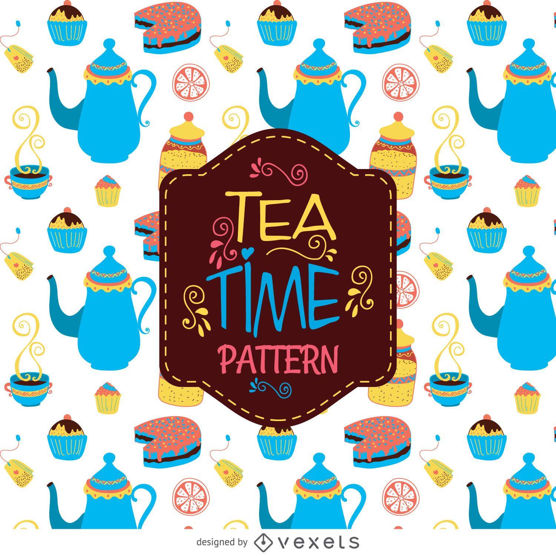 Tea time pattern background