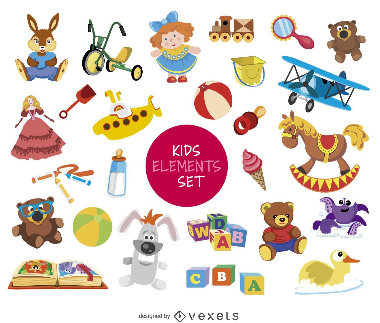 Conjunto de dibujo de elementos para niños