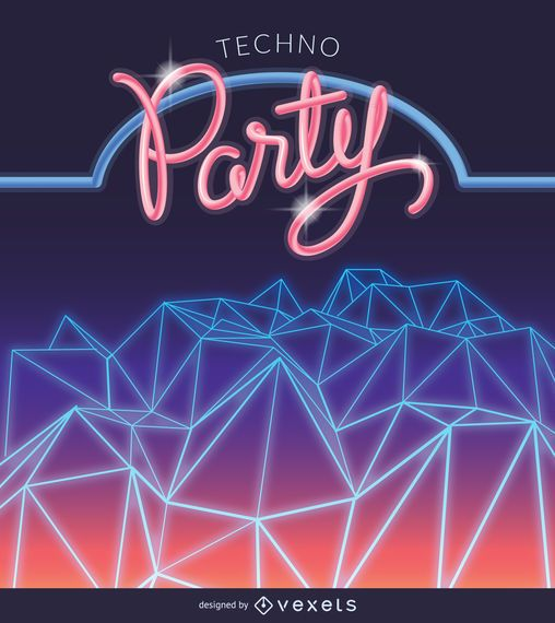 Synth wave party poster
