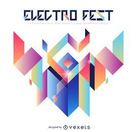 Cartaz de gradiente geométrico electro