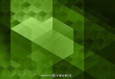 Fondo de polígono verde abstracto