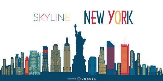 Silhueta de horizonte de Nova York