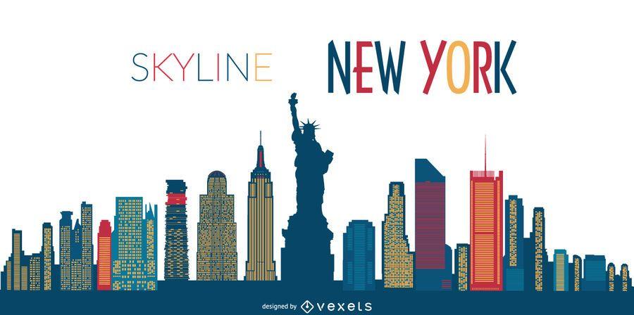 New York Skyline Illustration Vector Download