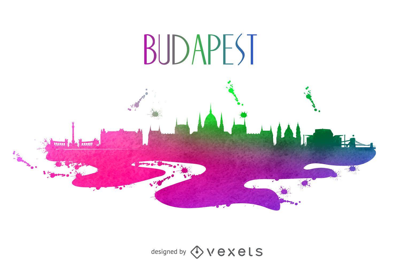 Budapest watercolor skyline