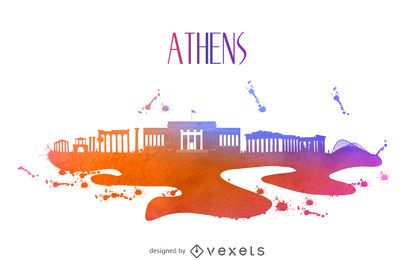 Athens watercolor skyline silhouette