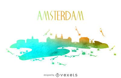 Amsterdam watercolor skyline