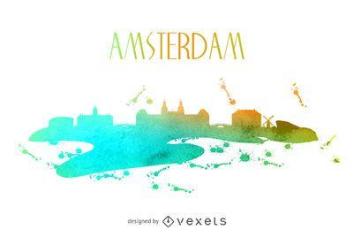 Skyline de aquarela de Amesterdão