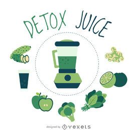 Clean detox juice element poster