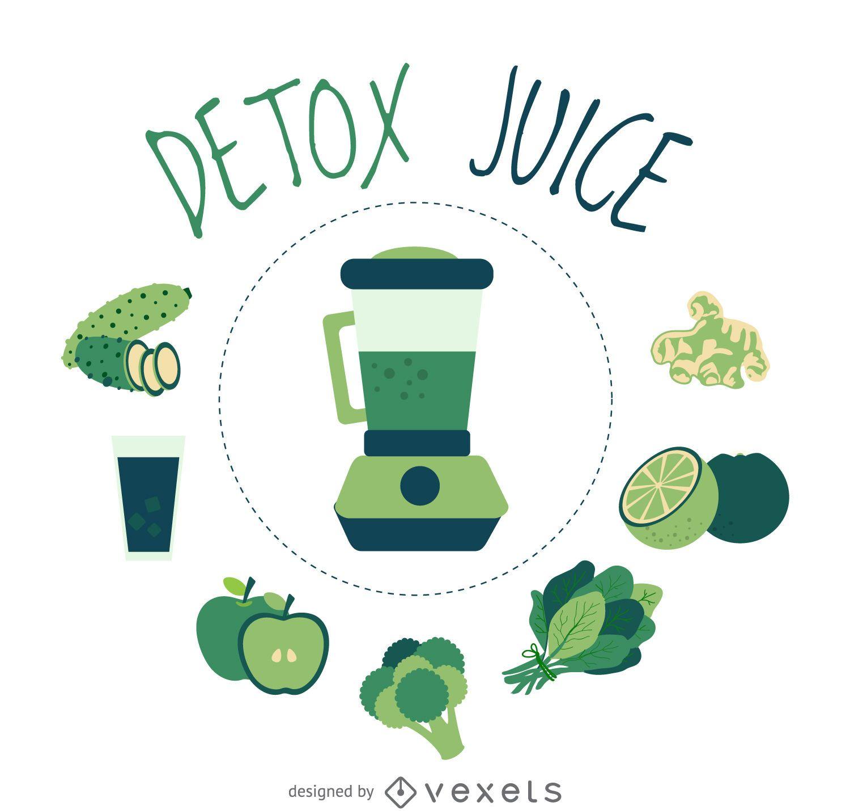 Clean detox juice element poster