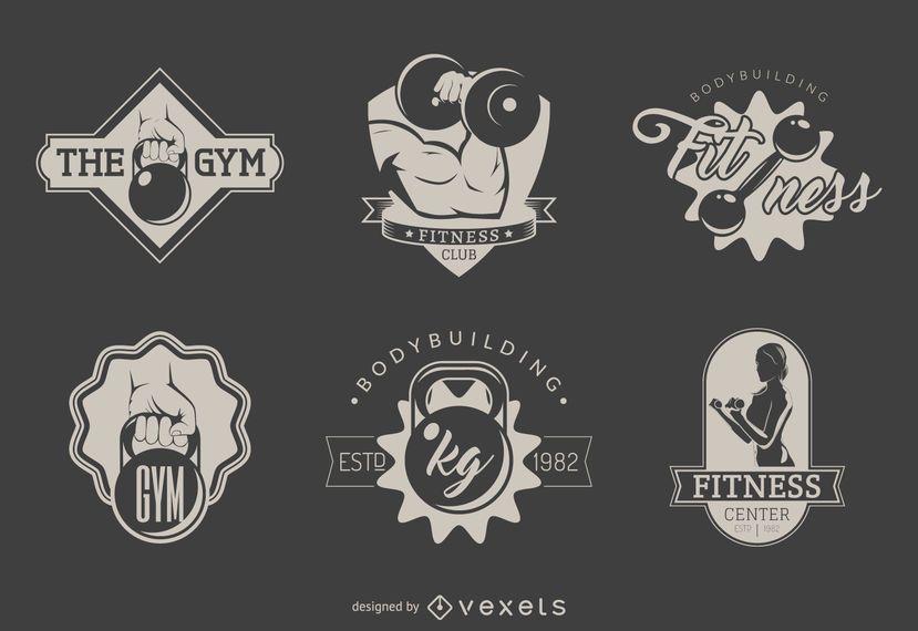 Conjunto de plantillas de logotipo de gimnasio