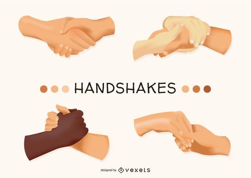Conjunto ilustrado apretón de manos
