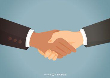 Apretón de manos de socios plana ilustración