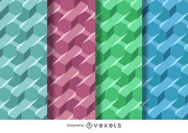 Conjunto padrão poligonal 3D
