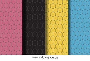 Conjunto de fondo patrón hexagonal lineal