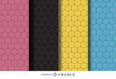 Linear hexagon pattern background set