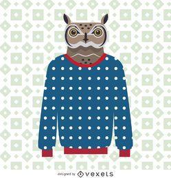 Ilustração de coruja de camisola