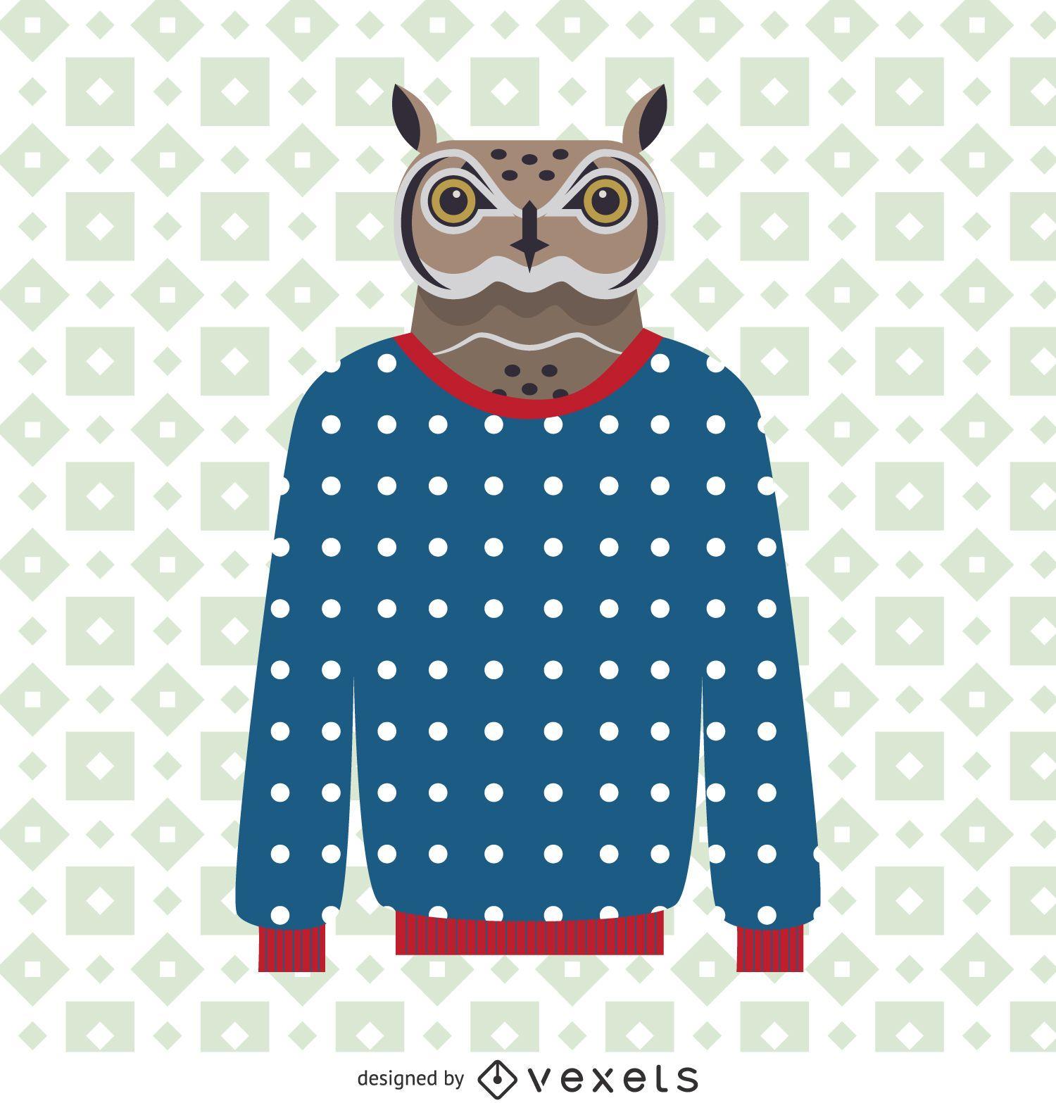 Ilustración de búho suéter
