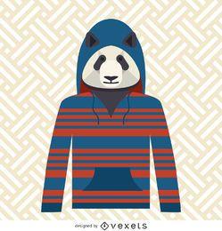 Panda con la ilustración de la sudadera con capucha