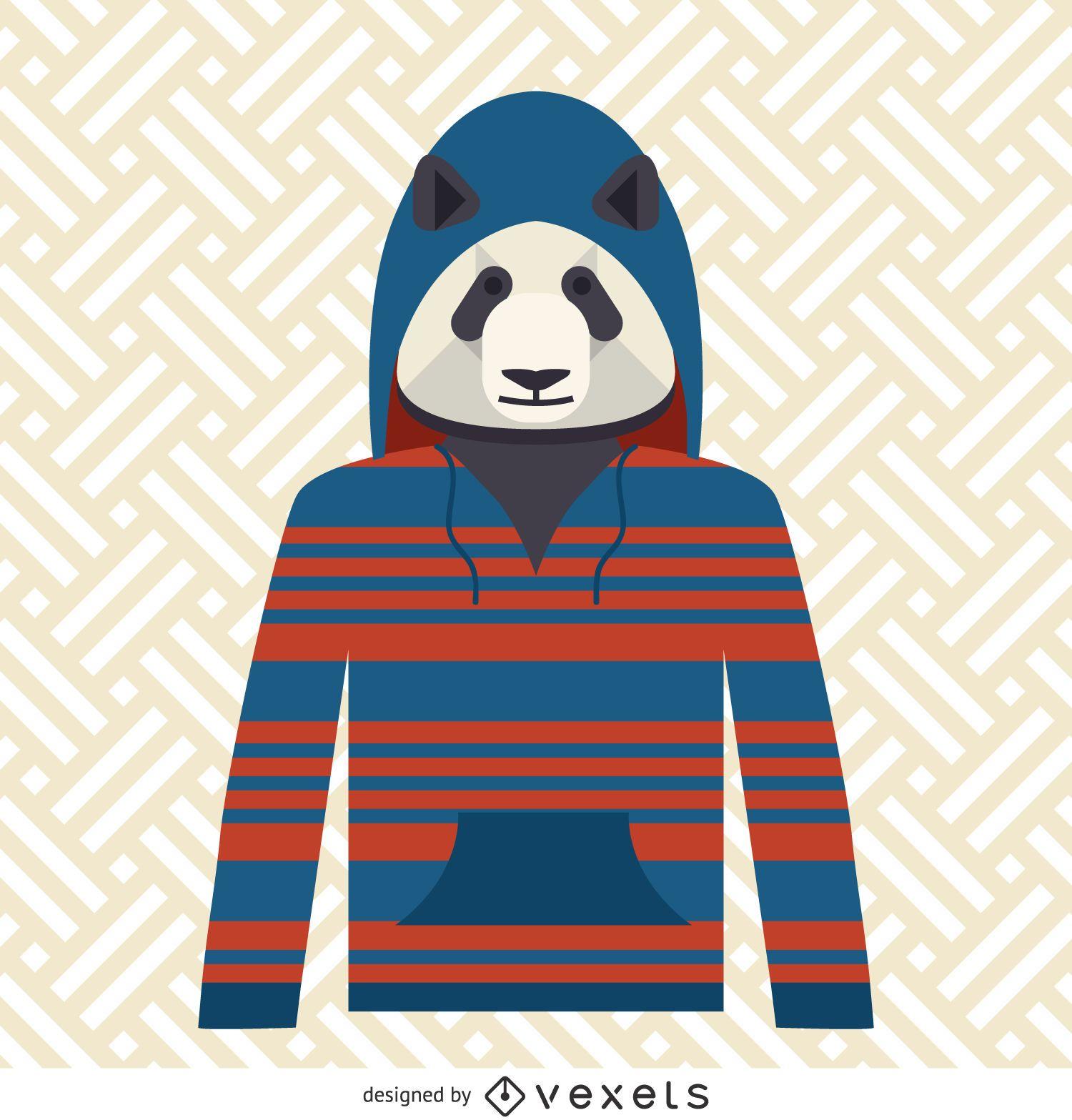 Panda with hoodie illustration